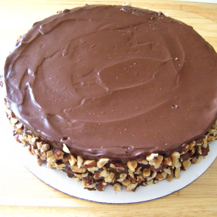 Flourless Chocolate Cake with Ganache and Hazelnuts