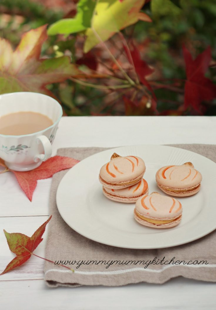 Pumpkin spiced French macarons are a delicious autumn treat that are perfect for Halloween, Thanksgiving, or any day!