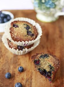 Delicious banana muffins filled with fresh blueberries.