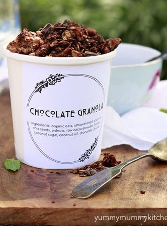 Homemade healthy superfood chocolate granola.