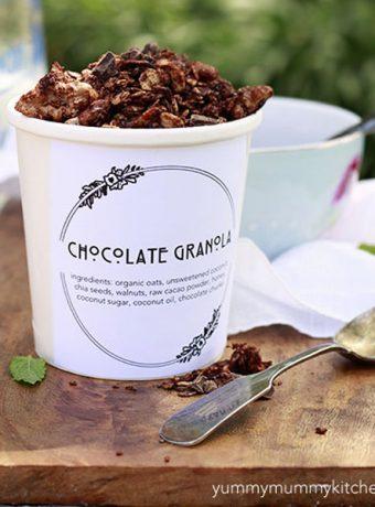 Homemade healthy superfood chocolate granola.