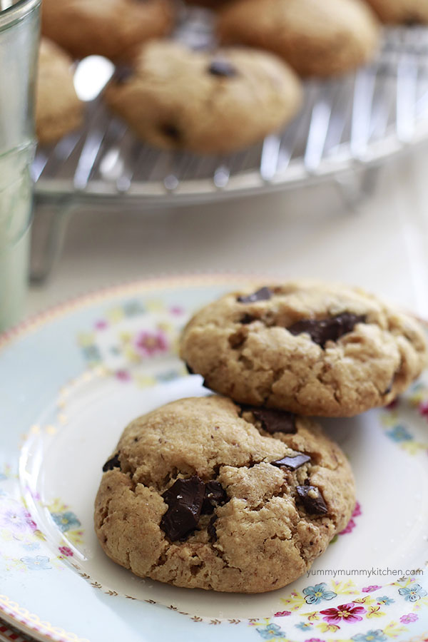 Soft and delicious chocolate chip cookies made with almond flour.