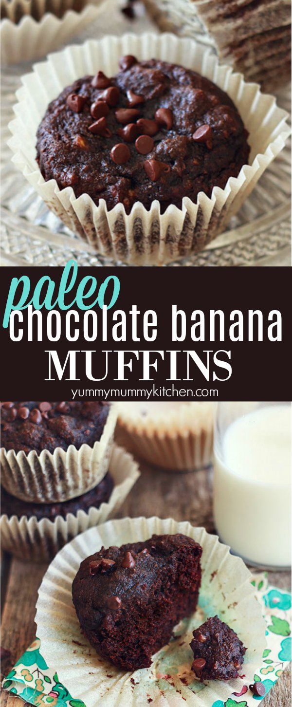Chocolate banana muffins made with almond and coconut flour.