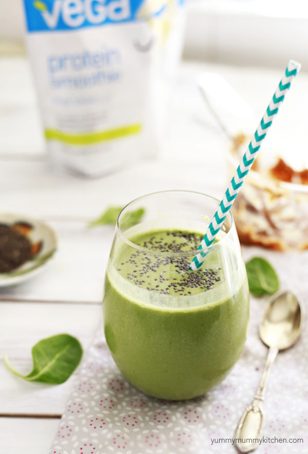 Vegan protein green smoothie with almond butter.