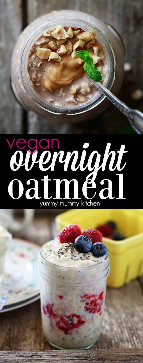 How to make vegan overnight oatmeal with almond milk with flavor variations like chocolate and berry.