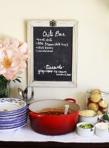 A DIY vegetarian chili bar