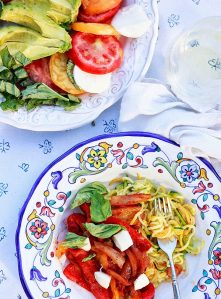 Italian peppers and onions served with basil, mozzarella, and zucchini noodles.