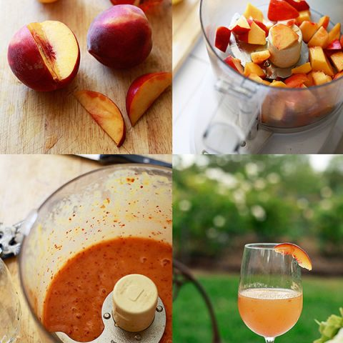 The steps to make a fresh peach bellini cocktail.