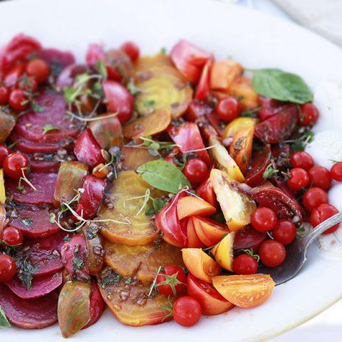A beautiful roasted beet and heirloom tomato salad.
