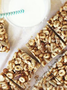 cheerio bars made with sunflower seed butter for a school snack.
