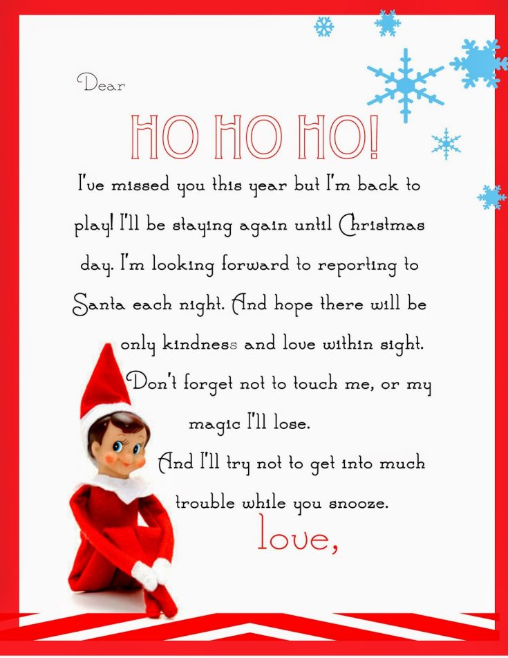 An original, funny, and cute return letter from your Elf on the Shelf. Print out the high-res Elf letter for your kids.