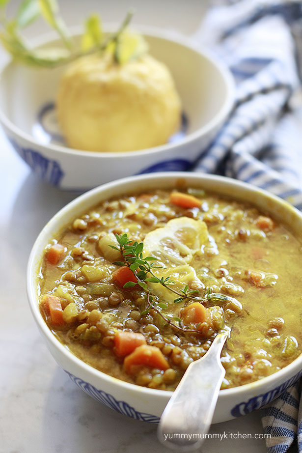 Bright healthy lemon lentil soup with carrots and turmeric.