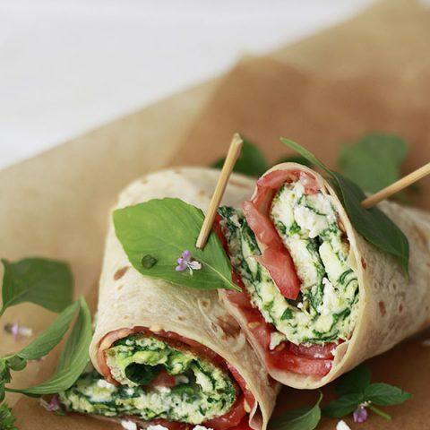 Spinach and Feta Egg White Wraps
