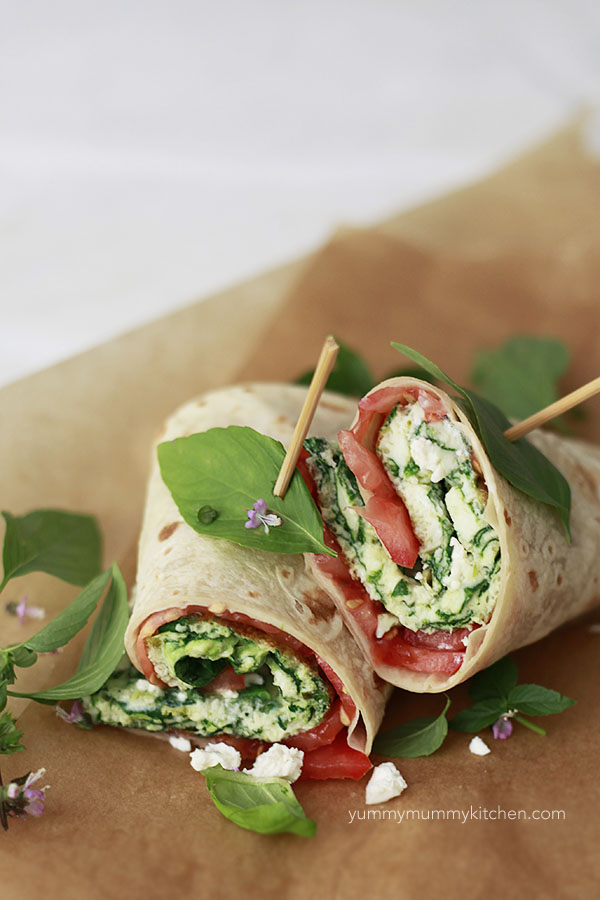 Spinach, egg whites, and tomatoes come together for a delicious high protein breakfast.