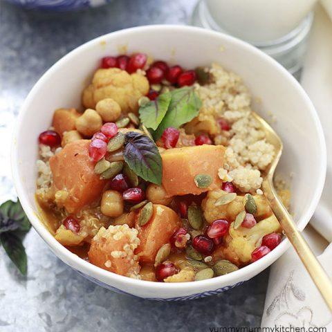 Butternut Squash Curry with Pumpkin, Cauliflower, and Chickpeas