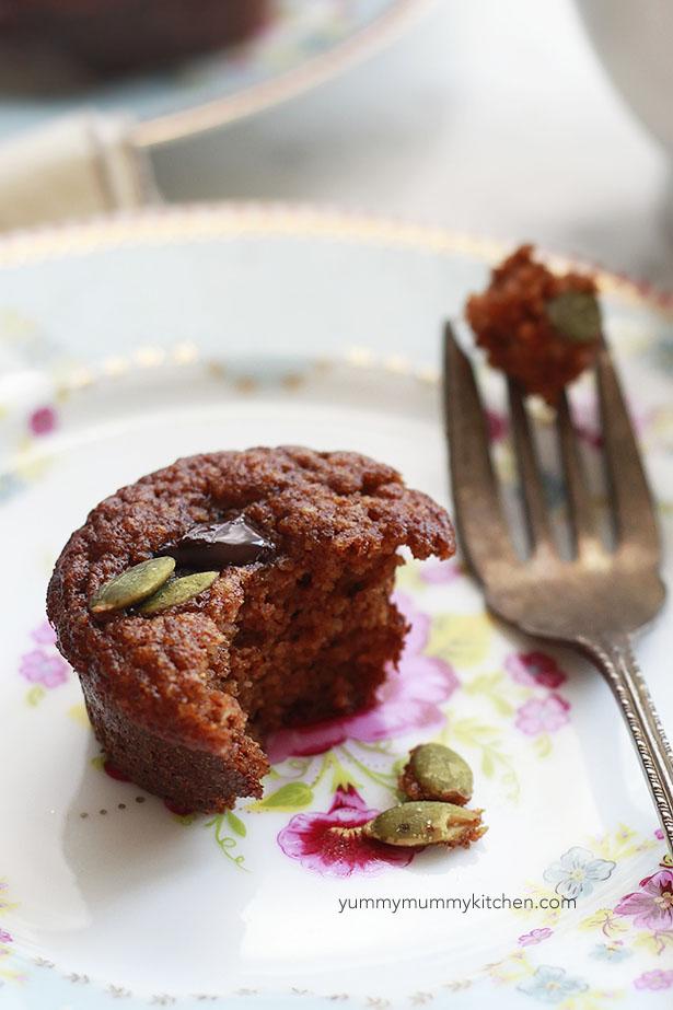 Grain-free paleo pumpkin muffins made with almond flour.