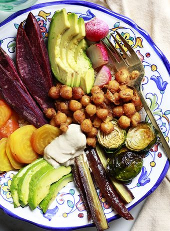 A vegan Buddha bowl with curried chickpeas, and 30 best Buddha bowl recipes.