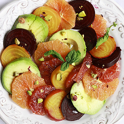 Delicious winter and spring salad of sweet roasted beets and juicy oranges.