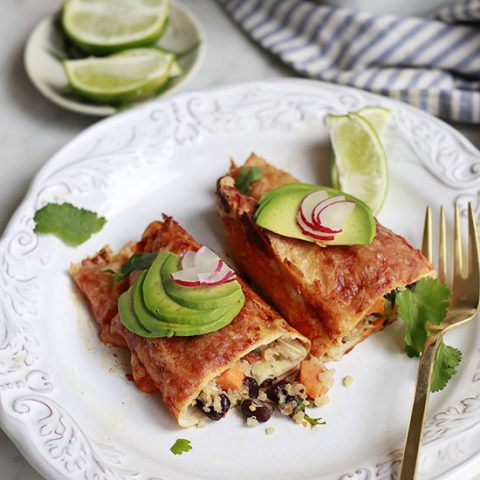 Quinoa, Black Bean, and Sweet Potato Enchiladas