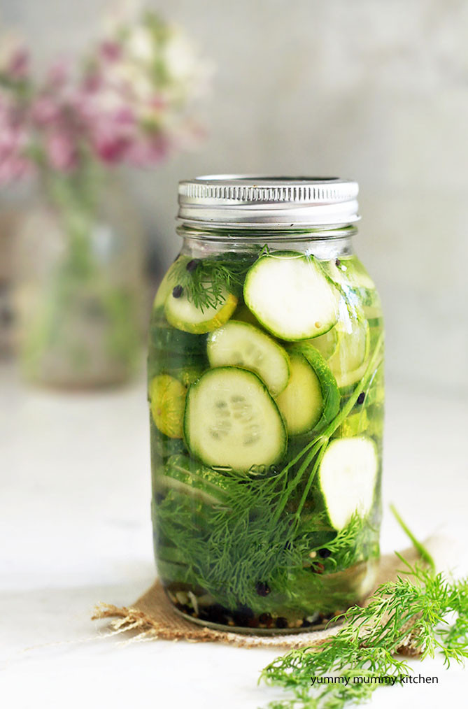 Make 1 jar of refrigerator pickles the easy way!