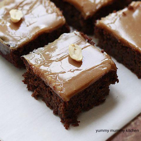 Vegan almond flour brownies with a peanut butter glaze.