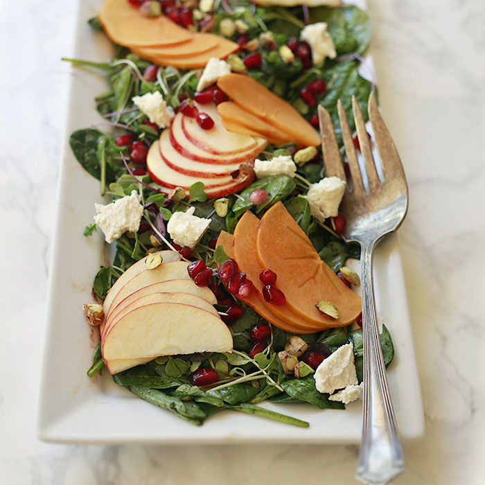 Autumn Salad with Persimmons and Apples