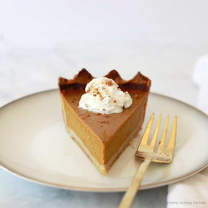 A slice of the best gluten free vegan pumpkin pie.