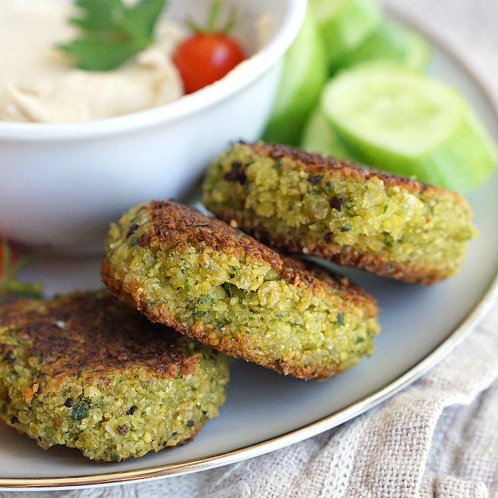 Healthy vegan baked falafel.