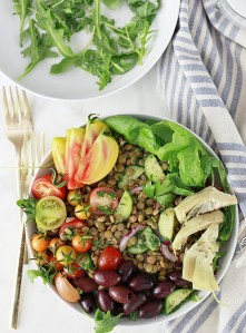 How to cook red and green lentils. A beautiful, healthy, vegan lentil salad bowl.