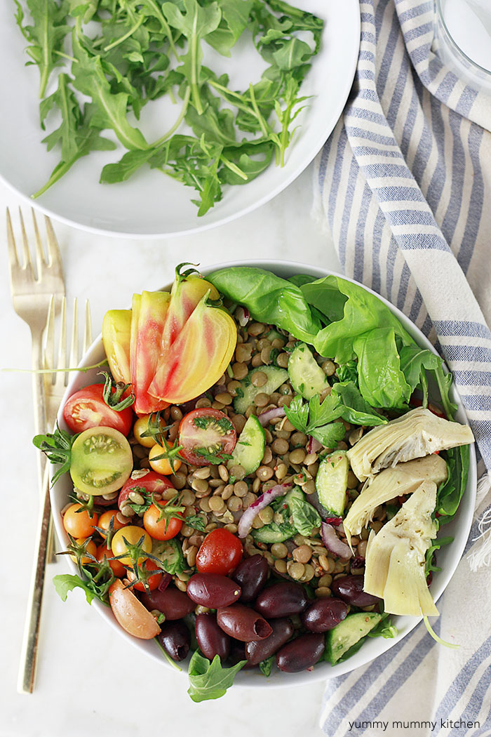 lentil salad with tomatoes, cucumber, and olives