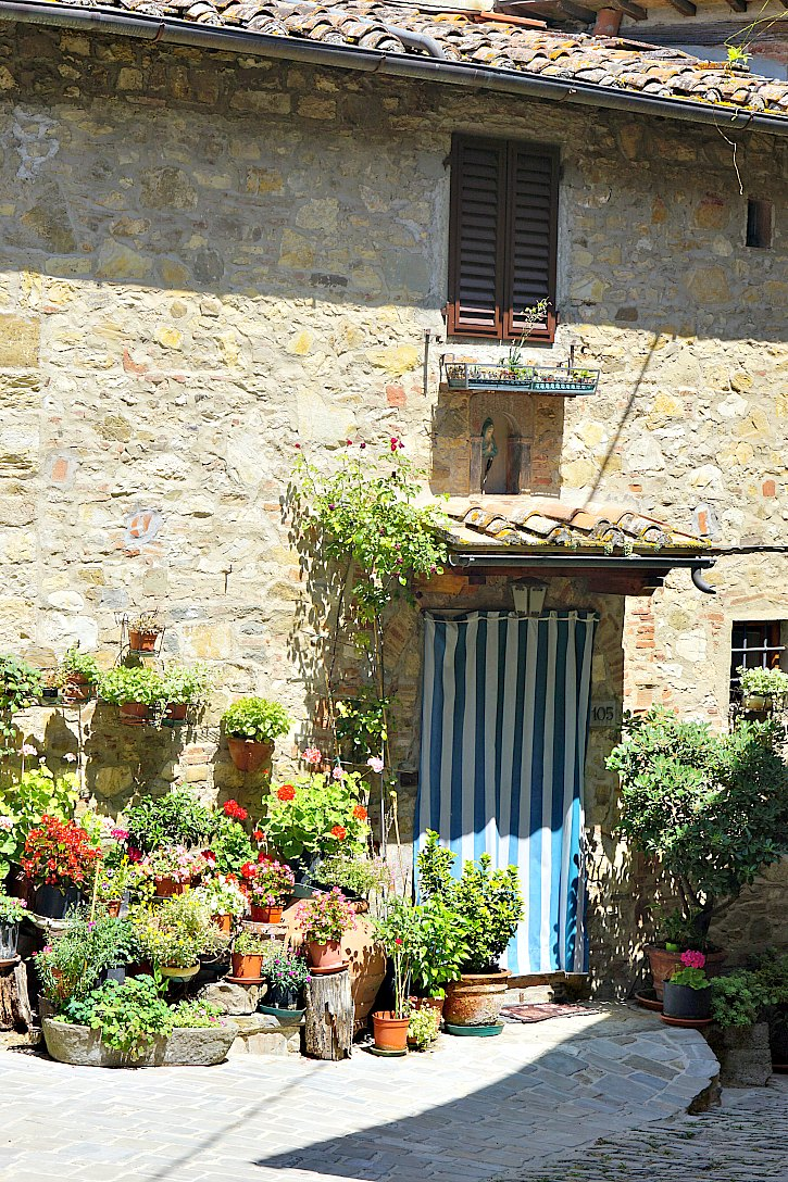 A beautiful home in the village of Montefioralle in Tuscany, Italy.