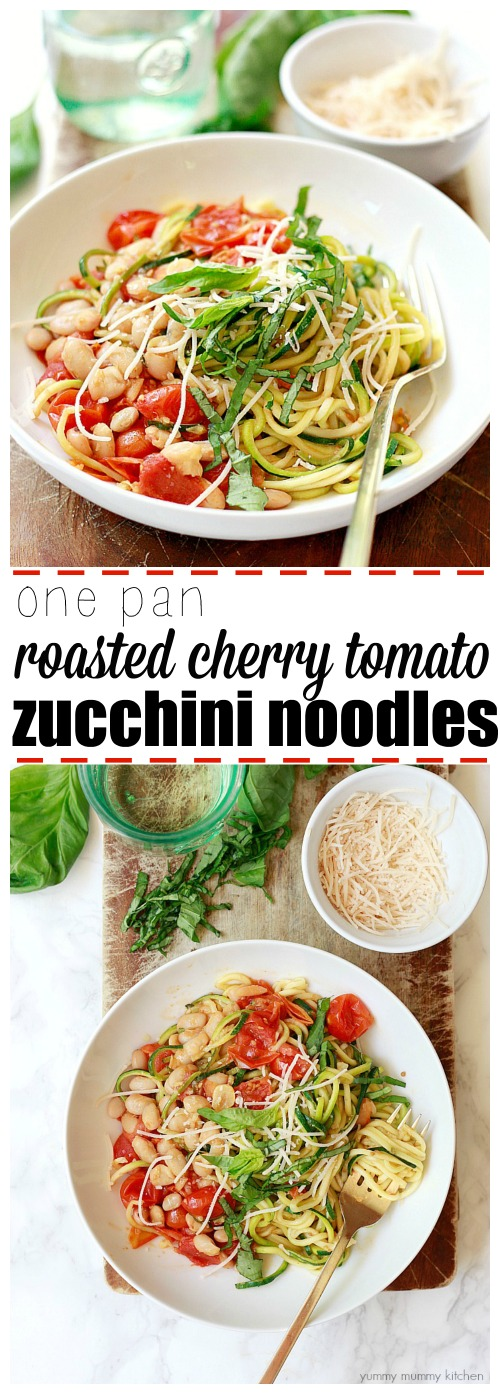 The best easy one-pot zucchini noodles with roasted cherry tomatoes and white beans.