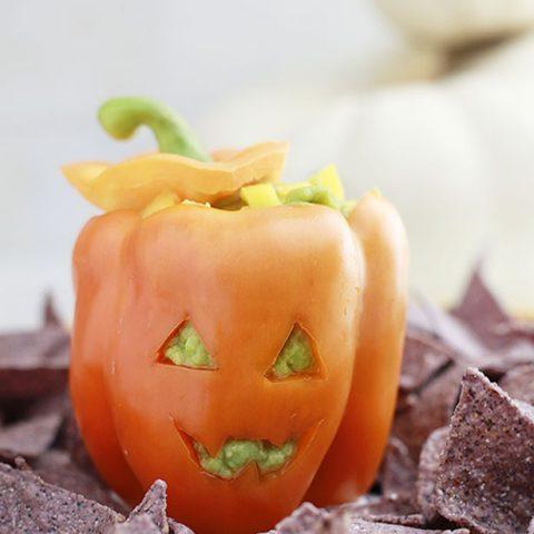 Mango Guacamole in Jack-o-Lantern Peppers