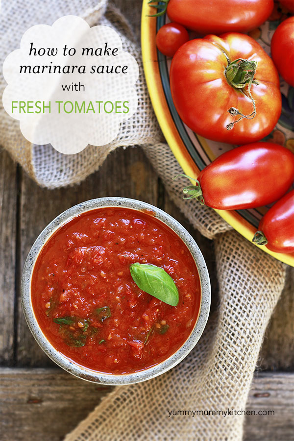 This delicious marinara pasta sauce is easy to make with fresh garden tomatoes.
