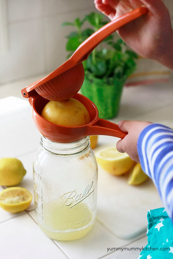 Lemons get juiced into a canning jar with an orange hand juicer for homemade healthy lemonade that's sugar free.