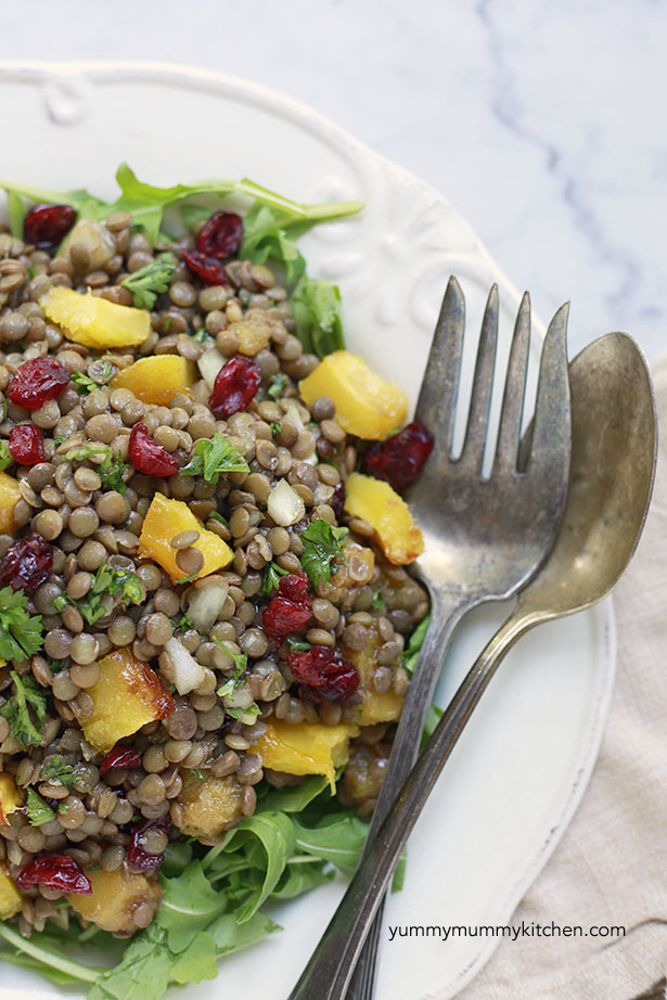 winter lentil salad with roasted squash and cranberries