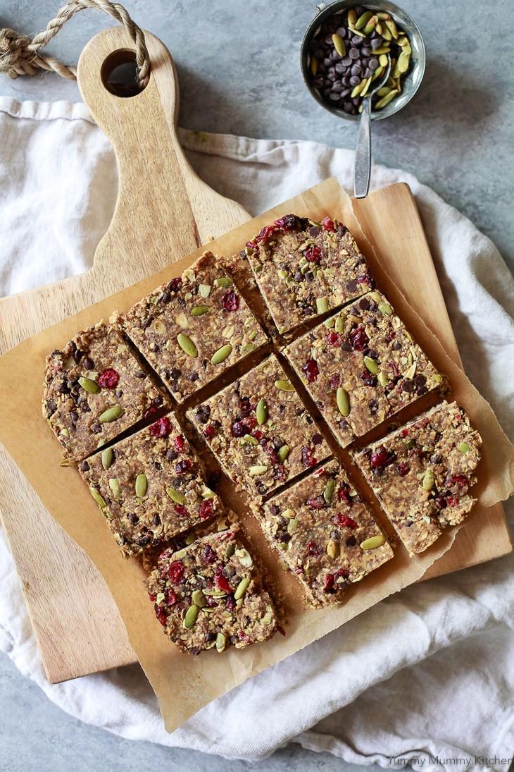 Homemade energy bar squares for vegan meal prep.