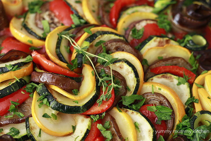 Ratatouille with polenta is a delicious way to use summer squash, eggplant, and peppers.