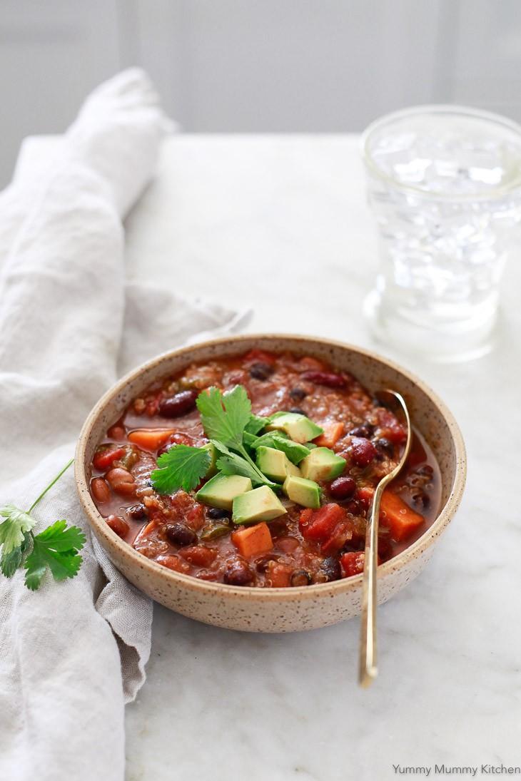 Hearty vegetarian vegan chili with quinoa and sweet potato.