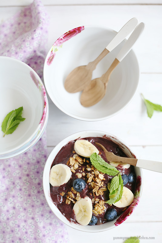 How to make beautiful acai bowls with berries, bananas, and granola.
