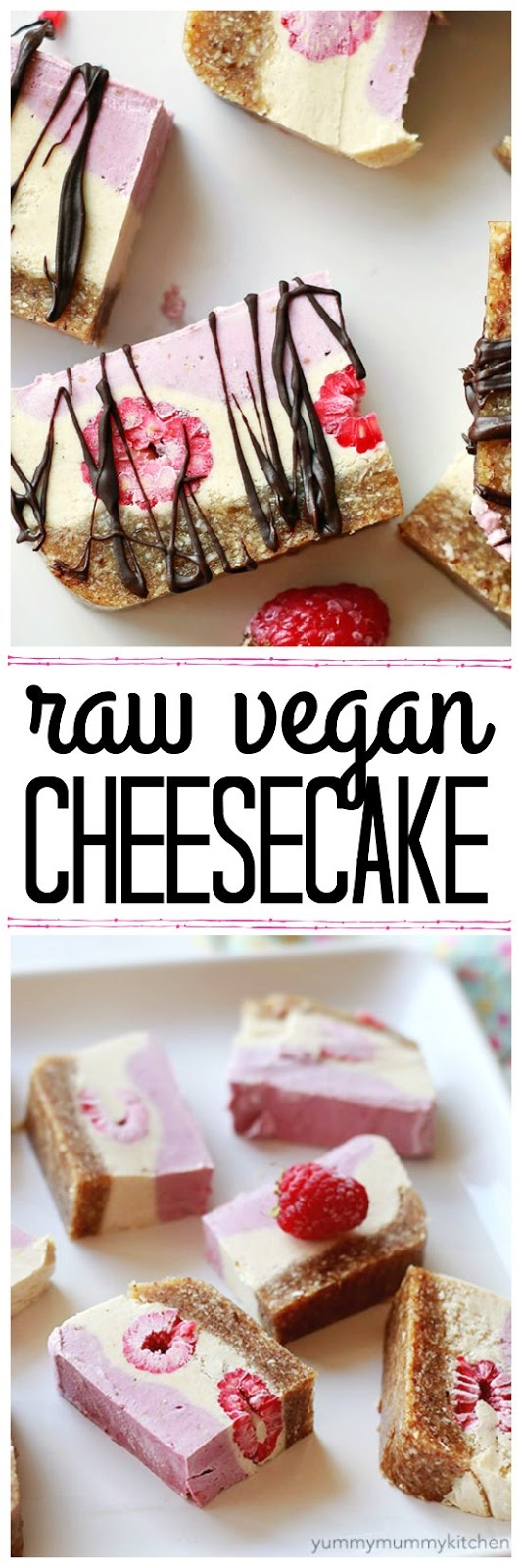 Beautiful raw vegan raspberry cheesecake sliced drizzled with chocolate. I love this natural cashew based cheesecake with date and nut crust. It makes such a delicious vegan treat.