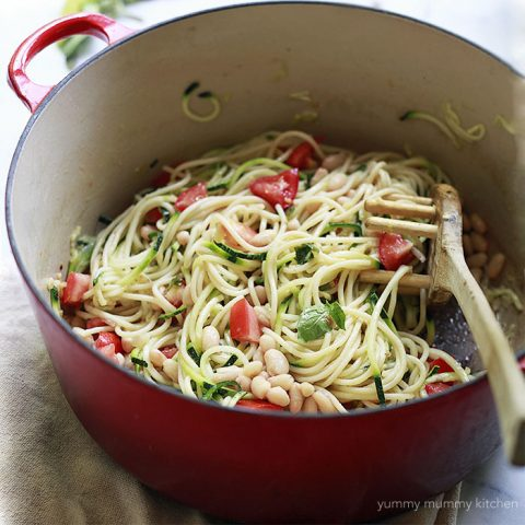 Zoodles (Zucchini Noodles) with White Beans and Tomatoes
