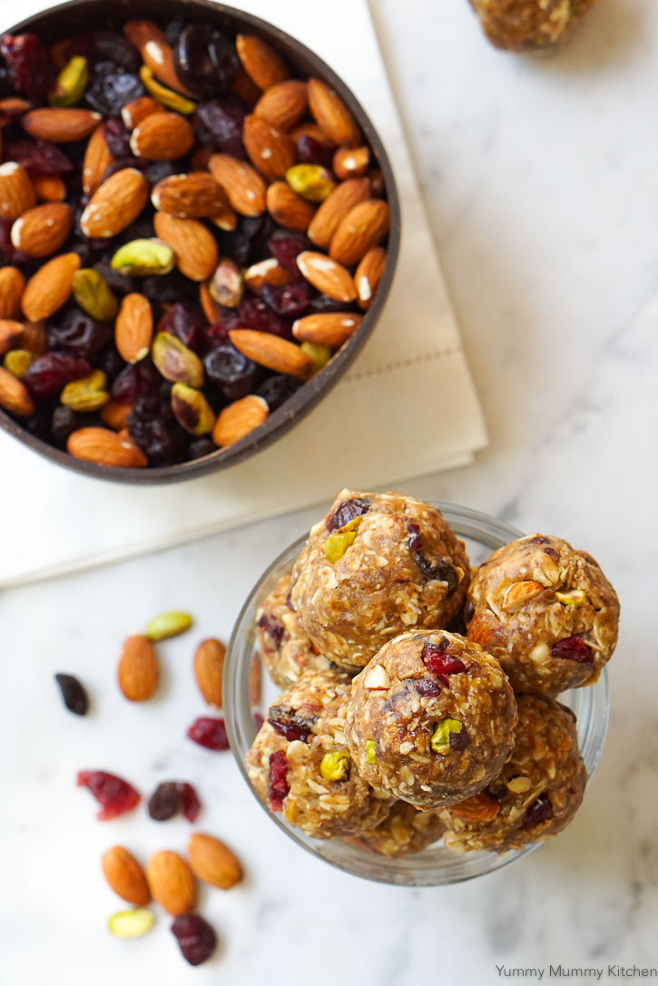 These peanut butter energy balls are easy to make with oats, peanut butter, maple syrup, and a bag of trail mix!