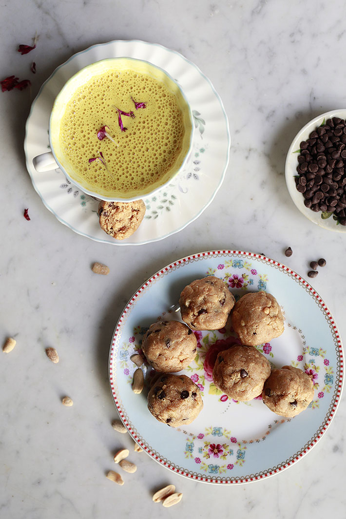 vegan chocolate chip peanut butter cookie dough energy balls