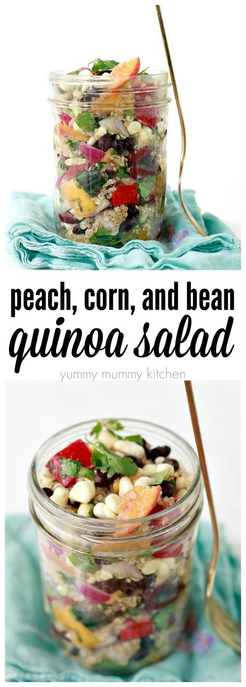 A delicious vegan quinoa salad with black beans, corn, and peaches.