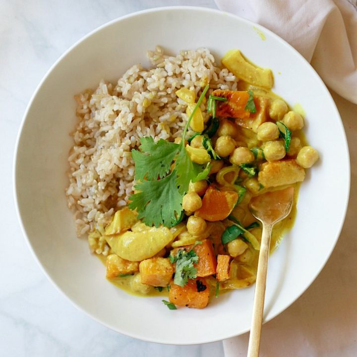Easy Chickpea Coconut Curry with Butternut Squash and Spinach