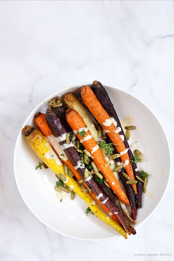 This tahini sauce is delicious drizzled over roasted vegetables like rainbow carrots.