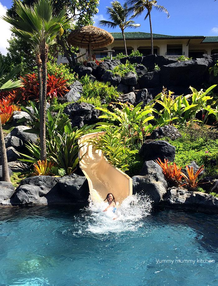 waterslide at the grand hyatt kauai
