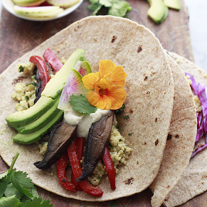 Vegan Millet Tacos with Portobello Mushrooms and Red Peppers