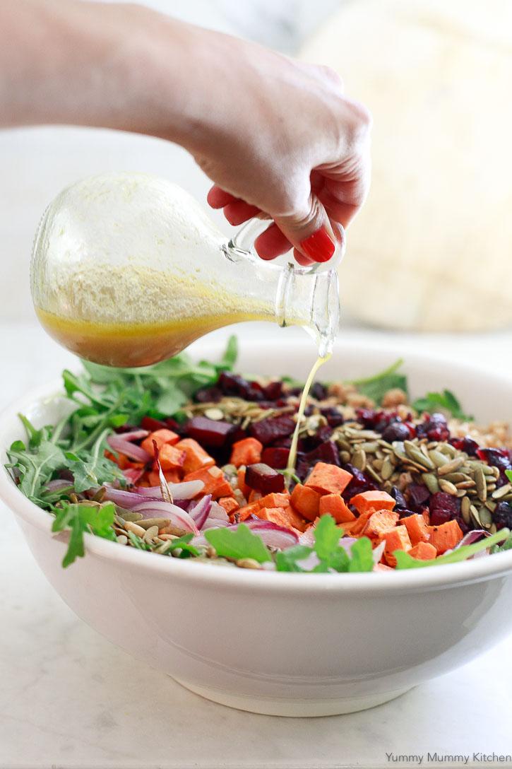 This harvest farro salad gets dressed with homemade apple cider vinaigrette.